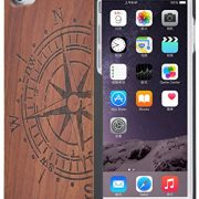 FULLLIGHT TECH iPhone 7 Case Unique Slim Protective Hard Case with Real RoseWood Compass Shell Shockproof Protective Wooden Cases for Apple iPhone 7 (Compass)