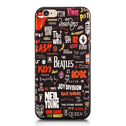 iPhone 6s Case, SLEO Cool Cartoon Funny Design [Non-Slip] [Ultra Slim] Soft TPU Back Cover Bumper Rubber Funky Case for iPhone 6s with 4.7 inch Screen - Music Bands Collection