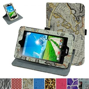 """Acer Iconia B1-770 Rotating Case,Mama Mouth 360 Degree Rotary Stand With Cute Lovely Pattern Cover For 7"""" Acer Iconia B1-770 Android Tablet,Map White"""