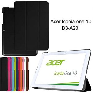 FIREUP Folding Case Protective Case Folio Cover for Acer Iconia One 10 B3-A20 (Not fit for One 10 B3-A10) - Black (#WYK), A Free Stylus included