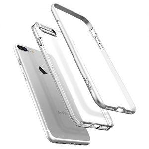 SPIGEN Neo Hybrid Crystal BUMPER Clear TPU/PC Frame Slim Dual Layer Premium Cover Case for Apple iPhone 7 Plus - Satin Silver