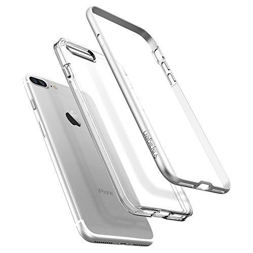 SPIGEN Neo Hybrid Crystal BUMPER Clear TPU/PC Frame Slim Dual Layer Premium Cover Case for Apple iPhone 7 Plus - Satin Silver