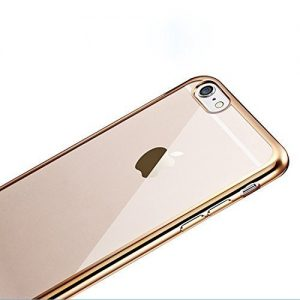 APPLE IPHONE 7 CASE (GOLD) FLEXIBLE SILICON CASE WITH A METAL EFFECT EDGE VISUAL TRANSPARENCY CASE COVER