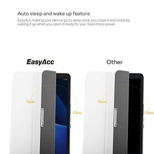 EasyAcc Samsung Galaxy Tab A 10.1 (2016) Case, EasyAcc Ultra Slim Samsung Galaxy Tab A 10.1 SM-T580N Cover Smart Case with Stand / Auto Sleep Wake-up for Samsung Galaxy Tab A 10.1 (2016) (Top Premium PU Leather, Folded Cover Design, White)