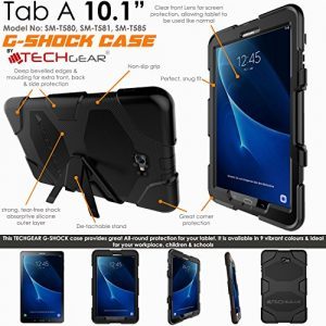 """TECHGEAR® G-SHOCK Case for Samsung Galaxy Tab A 10.1"""" 2016 (SM-T580 Series) Tough Rugged HEAVY DUTY Armour Shock Proof Long Survival Protective Case with Detachable Stand - Kids Schools Builders Workman Case [BLACK]"""