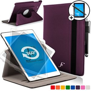 Forefront Cases® New Leather Rotating Case Cover Stand for Samsung Galaxy Tab E 9.6 T560 (July 2015) - Padded and Secure Strap Closure for Full device protection + STYLUS & SCREEN PROTECTOR