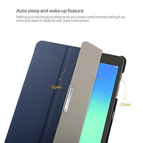 EasyAcc Ultra Slim Samsung Galaxy Tab A 9.7 T550 Smart Case Cover with Stand / Auto Sleep Wake-up for Samsung Galaxy Tab A 9.7 (Top Premium PU Leather, Folded Cover Design, Dark Blue)