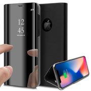 iPhone XR Case, Clear View Window Plating Stand Mirror Make UP Flip Case Cover Ultra Slim Thin Full Body Protective Case Wallet With Kickstand for iPhone XR,Black