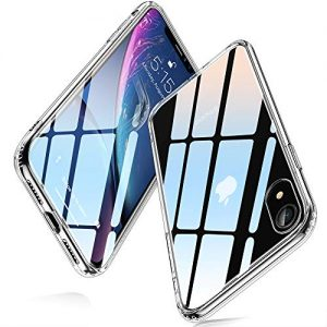 ESR Glass Case for iPhone XR, 9H Tempered Glass Hybrid Back Cover [Mimics The Glass Back iPhone XR] Scratch-Resistant+Soft Silicone Bumper Shock Absorption iPhone XR, Clear