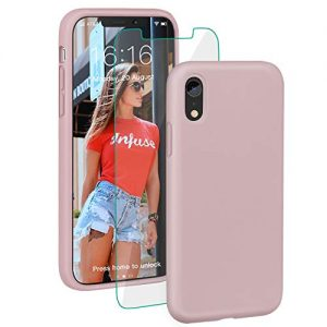 "ProBien Case for iPhone XR, Silicone Gel Rubber Shockproof Shell with Free Tempered Screen Protector for New iPhone XR 2018 (6.1"")-Sand Pink"