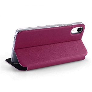 doupi FlipCase for iPhone Xr (iPhone 10r) 6.1 inch – Deluxe Leatherette Magnet Book Style Screen Protector Stand Protective Flip Cover, red pink