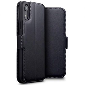 TERRAPIN, Compatible with iPhone XR Case – GENUINE LEATHER Low Profile Wallet Case – Slim Fit – Viewing Stand – Card Slots – Black