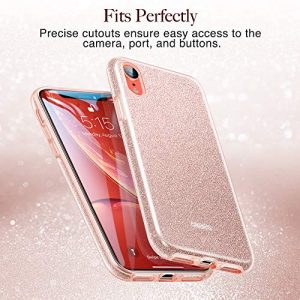 ESR Glitter Case for iPhone XR, Luxury Case Sparkle Bling Designer Cover[Three Layer] for Women [Supports Wireless Charging] for the 6.1″ iPhone XR (Coral)