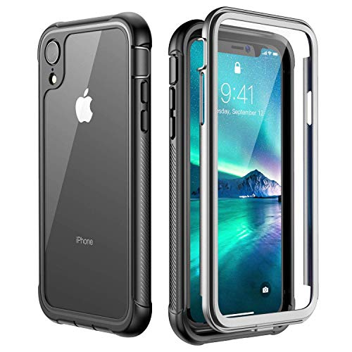 iPhone XR Case,Built-in Screen Protector Cover 360 Degree Protection Rugged Clear Bumper Case for iPhone XR 2018 Release (6.1 inch) (Black/Clear)
