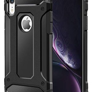 KP TECHNOLOGY iPhone XR Case, Apple iPhone XR Shockproof Slim Anti Scratch Hybrid Dual Layer Heavy Duty Armor Defender Protective Case Cover for Apple iPhone XR (BLACK)