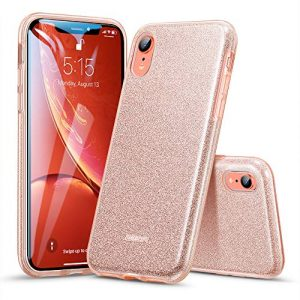 "ESR Glitter Case for iPhone XR, Luxury Case Sparkle Bling Designer Cover[Three Layer] for Women [Supports Wireless Charging] for the 6.1"" iPhone XR (Coral)"