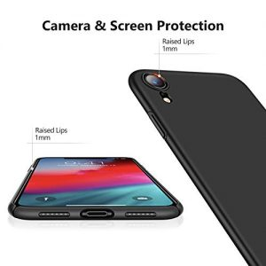 TORRAS iPhone XR Case, Ultra Thin Slim XR Case with [Tempered Glass Screen Protector], Hard Plastic Protective Matte Phone Cover Case for iPhone XR (2018) 6.1 inch – Black