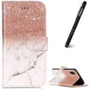 iPhone XR Case, iPhone XR Flip Cover, Slynmax Leather Wallet Flip Folio Marble Design Lanyard Cover with Magnetic Clasp Stand Function Card Holder ID Slots Rose Gold White Shockproof Protective Case
