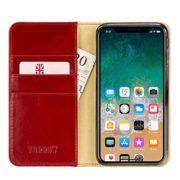 TORRO Premium Leather Case compatible with iPhone XR, Stand Case for Apple iPhone XR (Handmade, Red leather, cream suede interior)