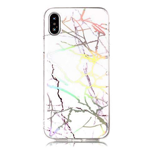 BtDuck iPhone XR Case Silicone Case Marble Pattern Cover Glitter Case Shockproof Shell Bumper Phone Protective Laser Design Crystal Clear Case Protective Rubber Cover