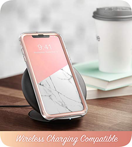 iPhone XR Case, i-Blason [Cosmo] Full-body Bling Glitter Sparkle Clear Bumper Case with Built-in Screen Protector for iPhone XR 6.1 Inch (2018 Release) (Marble)