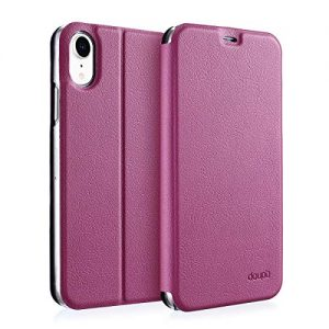 doupi FlipCase for iPhone Xr (iPhone 10r) 6.1 inch - Deluxe Leatherette Magnet Book Style Screen Protector Stand Protective Flip Cover, red pink
