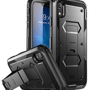 i-Blason iPhone XR Case, [Armorbox] [Built in Screen Protector][Full body] [Heavy Duty Protection] [Kickstand] Shock Reduction Case for Apple iPhone XR 6.1 Inch (2018 Release) (Black)