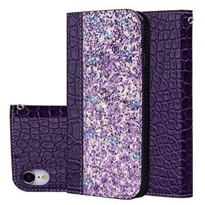 Phone Case for iPhone XR, iPhone XR Case Wallet, Slynmax Strong Magnetic Automatic Suction Shiny Crocodile Pattern PU Leather Flip Wallet Bright Purple Folio Cover