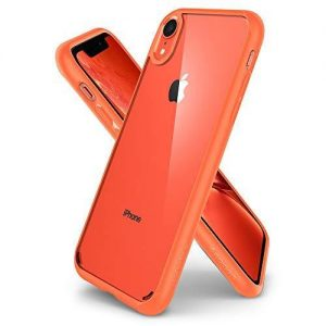 Spigen [Ultra Hybrid] iPhone XR Case 6.1 inch with Air Cushion Technology and Clear Hybrid Drop Protection for iPhone XR (2018) - Coral