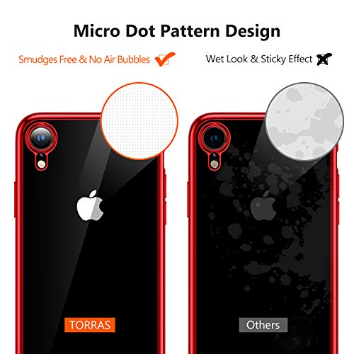 TORRAS iPhone XR Case, Crystal Clear Back with Stylish Edge Slim Soft TPU Flexible Silicone Protective Durable iPhone XR Case Cover for 6.1 inch iPhone XR – Red