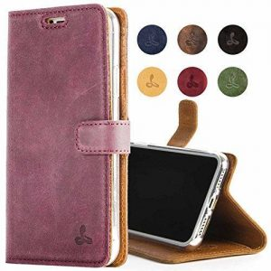 Snakehive iPhone XR Leather Case, Luxury Genuine Leather Wallet with Viewing Stand and Card Slots, Flip Cover Gift Boxed and Handmade in Europe for Apple iPhone XR - (Plum)