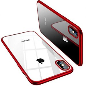 TORRAS iPhone X Case [Specially Designed for X 2017] Crystal Clear Anti-Yellow Thin Slim Fit with Stylish Silicone Bumper Edge Reinforced Shockproof Phone Case Cover for iPhone X – Red