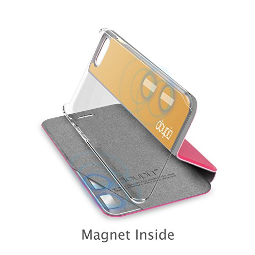 doupi Deluxe Flipcover for iPhone X/Xs 5.8 inch, Magnet Protective Flip Case Book Style Screen Protector Stand, red pink