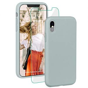 """ProBien Case for iPhone X/iPhone XS, Liquid Silicone Full Protective Cover with Free Tempered Screen Protector Shockproof Shell for New 2018 iPhone X/iPhone XS (5.8"""")-Mint Green"""