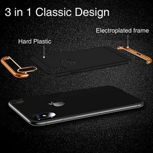 TORRAS iPhone X Case, iPhone Xs Case, 3 in 1 Hybrid Ultra Thin Slim Hard Case with Anti-scratch Matte Finish Protective Plastic Phone Case Cover for iPhone X/Xs - Black