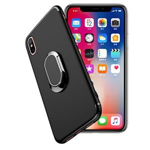 iPhone X Case Silicone,iPhone X Phone Cover Black, Slynmax Flexible Soft TPU Silicone Back Protective Case with Oval Metal Grip Ring Kickstand