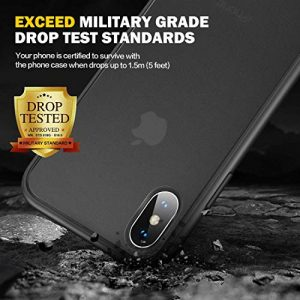 Humixx iPhone X Case, iPhone Xs Case [Military Grade Drop Tested] Translucent Matte Hard Case with Soft Edges, Slip-Resistant, Anti-Fingerprint, Anti-Drop Protection Cover for iPhone X/Xs – Black