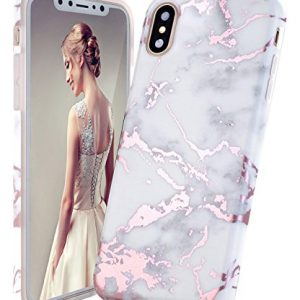 DOUJIAZ iPhone X Case,iPhone XS Case,Shiny Rose Gold White Marble Design Clear Bumper TPU Soft Case Rubber Silicone Skin Cover for iPhone X (2017)/iPhone XS (2018)