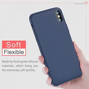 BKSTONE iPhone X Case, iPhone Xs Case Liquid Silicone Gel Rubber Shockproof Case with Soft Microfiber Cloth Lining Cushion for 5.8″ Apple iPhone XS/X Case (Midnight blue)
