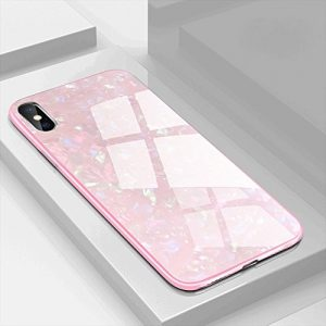 EYZUTAK Shell Design Case for iPhone X iPhone XS,Ultra Thin Tempered Glass Back- Tempered Glass Screen Protector Included -Anti-Scratch Plating TPU Bumper Shockproof Case for iPhone X/XS - Pink