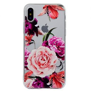 iPhone X / XS Case [With Free Tempered Glass Screen Protector],Mo-Beauty Clear Floral Soft Flexible TPU Back Cover Case for Apple iPhone X/ XS (Rose)