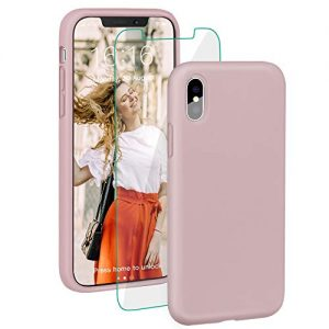 """ProBien Case for iPhone X/iPhone XS, Liquid Silicone Full Protective Cover with Free Tempered Screen Protector Shockproof Shell for New 2018 iPhone X/iPhone XS (5.8"""")-Sand Pink"""