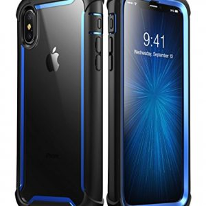 i-Blason iPhone X Case,iPhone XS Case, [Ares] Full-Body Rugged Clear Bumper Case with Built-in Screen Protector for Apple iPhone X 2017/ iPhone XS 2018 (Blue)