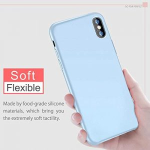 BKSTONE iPhone X Case, iPhone Xs Case Liquid Silicone Gel Rubber Shockproof Case with Soft Microfiber Cloth Lining Cushion for 5.8″ Apple iPhone XS/X Case (Light blue)