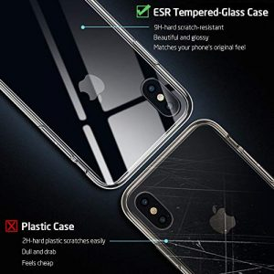 ESR Glass Case for iPhone XS/X Case, 9H Tempered Glass Back Cover [Mimics Glass Back of iPhone XS/X] [Wireless Charging Compatible] with Soft Silicone Bumper for 5.8″ iPhone XS/iPhone X, Clear