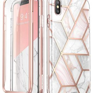 i-Blason iPhone Xs Case, [Scratch Resistant] [Cosmo] Full-body Bling Glitter Sparkle Clear Bumper Case with Built-in Screen Protector for iPhone Xs Case (2018 Release)(Marble)